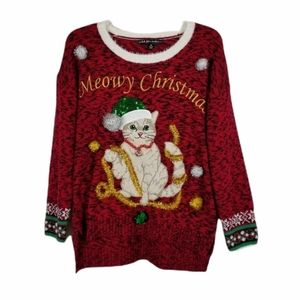 Meowy Christmas Ugly Cat Sweater Garland Sequins M